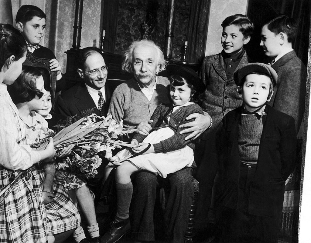 Albert Einstein With Displaced Children From Concentration Camps 1949